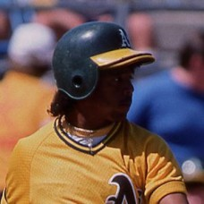 Luis Polonia - 1988 Oakland Athletics - original full color 35mm mounted slide (098)