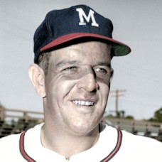 "Bob Trowbridge - 1959 Milwaukee Braves - 4""x6"" colorized print"