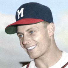 "Joe Koppe - c. 1956-57 Milwaukee Braves - 4""x6"" colorized print"