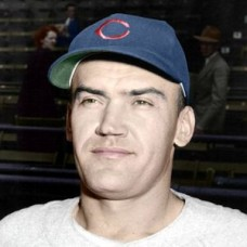 "Jess Dobernic - c. 1948-49 Chicago Cubs 4""x6"" colorized print"