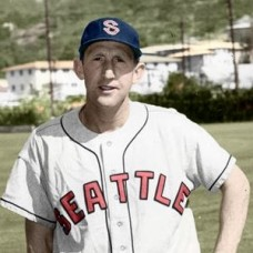 "Jackie Tobin - 1953 Seattle Rainiers 4""x6"" colorized print"