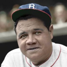 "Babe Ruth - 1935 Boston Braves 4""x6"" colorized print"