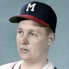 "Chet Nichols - c. 1954-56 Milwaukee Braves- 4""x6"" colorized print"