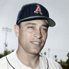 "Jim Pisoni - c. 1956-57 Kansas City Athletics 4""x6"" colorized print"