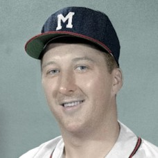 "Lou Sleater - 1956 Milwaukee Braves - 4""x6"" colorized print"