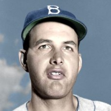 "Mal Mallette - 1951 Brooklyn Dodgers 4""x6"" colorized print"